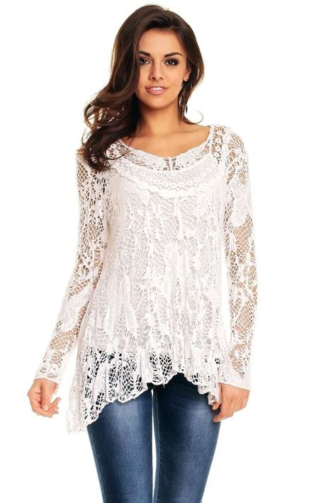 Ladies Long Tunic top Lagenlook Lace Crochet Party Evening ...