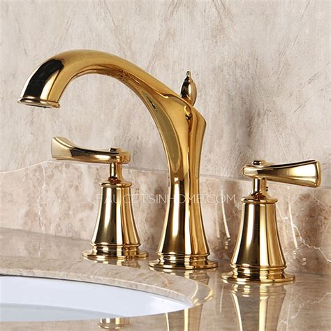 Designer Polished Brass Three Holes Decorative Bathroom