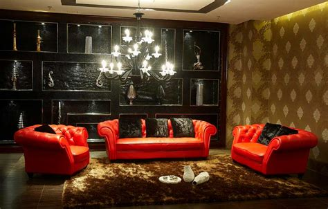 red black and gold living room in contemporary living room