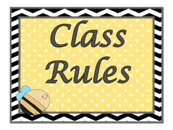 bumble bee  polka dots themed classroom rules
