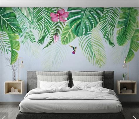 Ins Nordic Tropical Leaves Flower Wall Paper Photo Murals