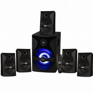 Acoustic, Audio, Bluetooth, 5, 1, Speaker, System, With, Sub, Light, And, Fm, Home, Theater, 6, Speaker, Set