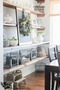 Styled dining room shelving the wood grain cottage shelves