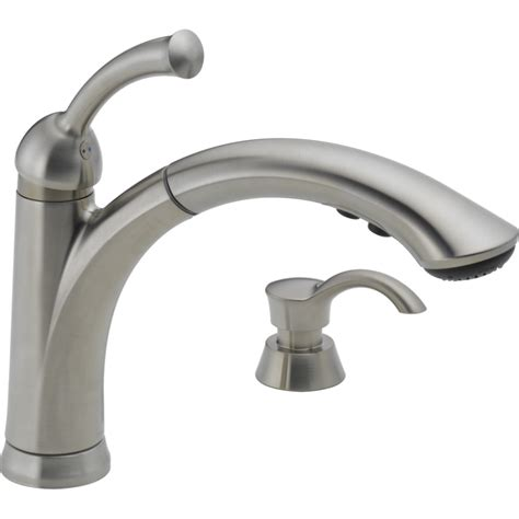 repair delta kitchen faucet single handle shop delta lewiston stainless 1 handle pull out kitchen