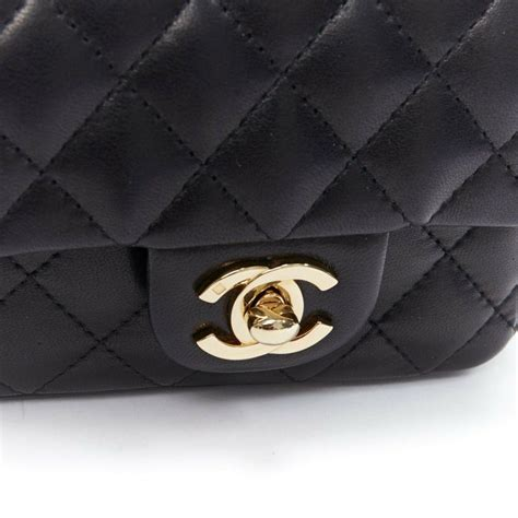 chanel rare  black quilted leather gold hardware cc turn lock flap micro bag  sale  stdibs