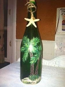 RESERVED FOR MCARVER 2 Lighted Wine Bottles Beach Scene