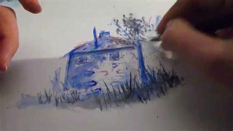 aquarell ein haus malen youtube