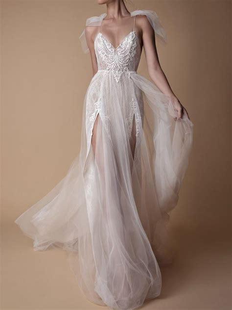Beautiful Spaghetti Straps Wedding Dress Lace Tulle Long ...