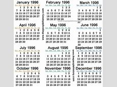 Calendar 1996 October 3rd – Calendar Template 2018