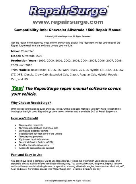 how to download repair manuals 1999 chevrolet silverado 2500 electronic valve timing chevrolet silverado 1500 online repair manual for 1999 2000 2001 2002 2003 2004 2005 2006