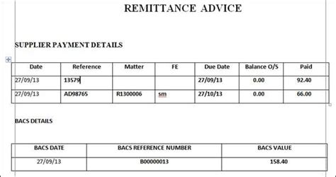 remittance advice templates word excel