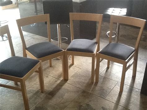 4 Quality Dining Chairs Solid Wood Padded Seats Comfy