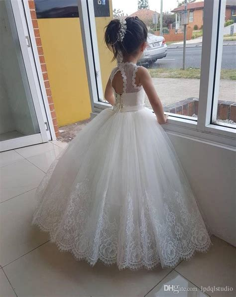 ivory flower girls dresses lace girls wedding party dress