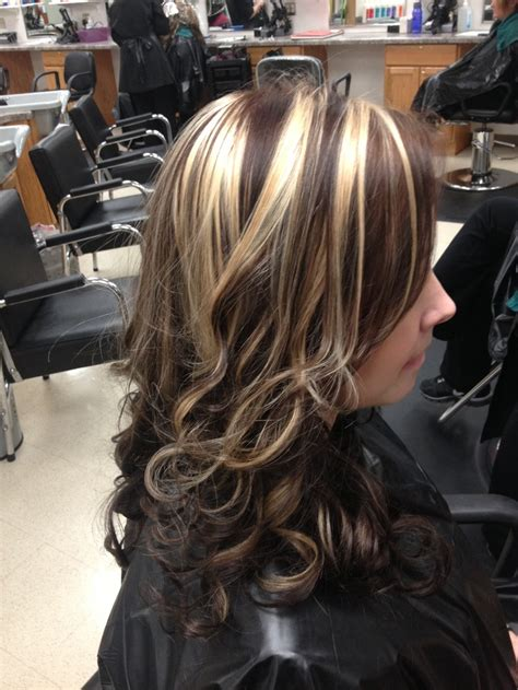 dark brown  chunky blonde highlights hair