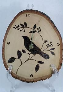 Bird, Clock, Woodburned, Clock, 55, 00, Via, Etsy