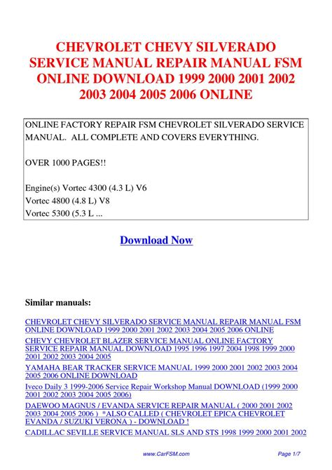 how to download repair manuals 1999 chevrolet silverado 2500 electronic valve timing chevrolet chevy silverado service manual repair manual fsm 1999 2000 2001 2002 2003 2004 2005 by