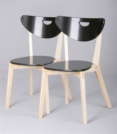 chaises bistro chaises de cuisine bois massif coloris noir lot de 2