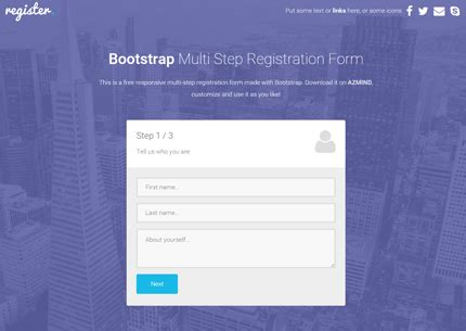 multi step registration form  bootstrap css jquery