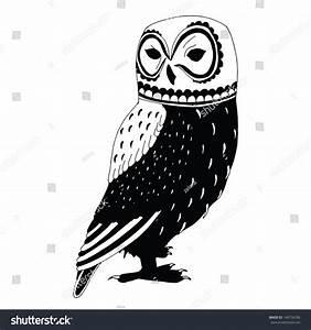 Black And White Illustration Of Owl - 146756786 : Shutterstock
