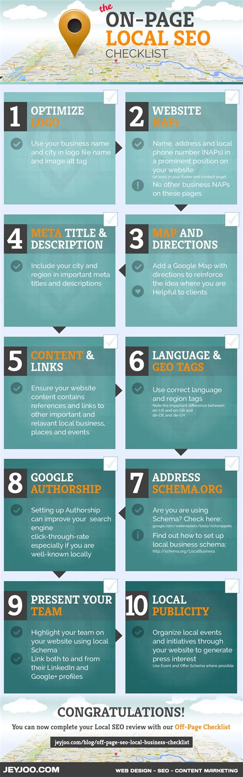 on page seo 10 techniques to improve your on page local seo infographic