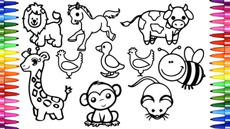 coloring  drawing animals  kids learn  draw