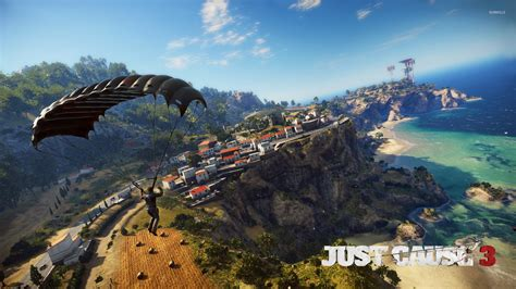Rico Rodriguez parachuting over the coast - Just Cause 3 ...