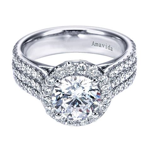 halo sparkling with diamonds triple row band in 18k white gold engagement ring diamond