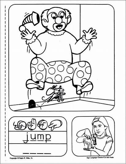 Asl Language Sign Coloring Jump Children Writing
