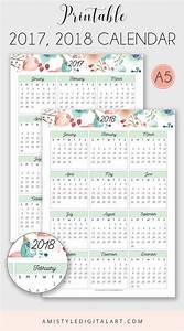Printable Calendar 2017-2018 - embellished with watercolor