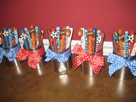 sports centerpieces for tables baseball pretzel sticks baseball pinterest sporty