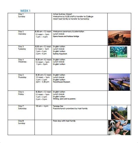 weekly itinerary samples sample templates