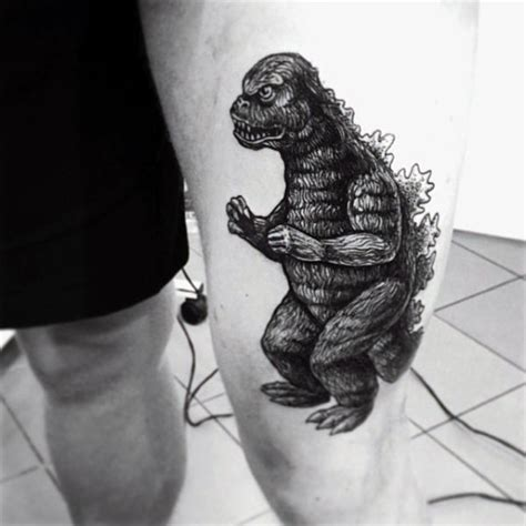 cute  black  white godzilla tattoo  thigh