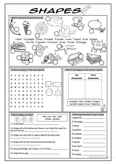 shapes vocabulary exercise worksheet free esl printable