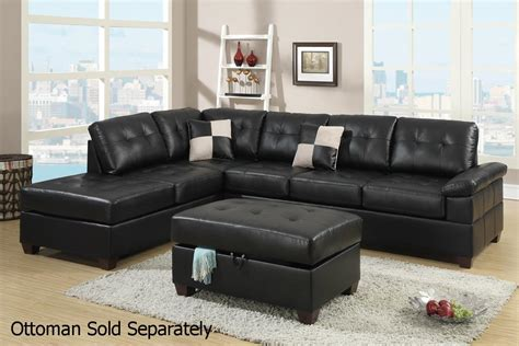 black leather sectional with ottoman poundex reese f7519 black leather sectional sofa steal a