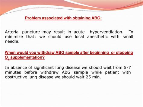 arterial gas blood abg analysis values ppt powerpoint presentation puncture