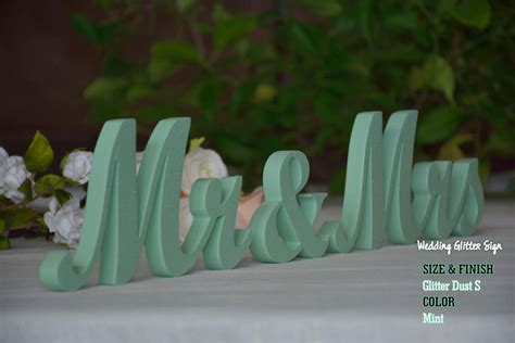 Mr And Mrs Mint Mint Green Wedding Decorations Rose Gold Sign