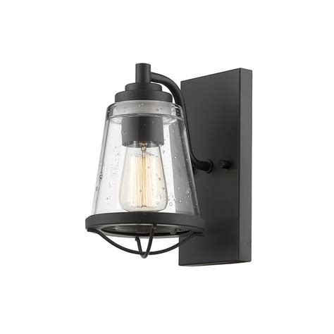 filament design lorinda 1 light bronze wall sconce with clear seedy glass shade hd te76411 the