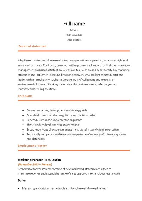 16328 marketing executive resume 21 marketing resume templates for every seeker