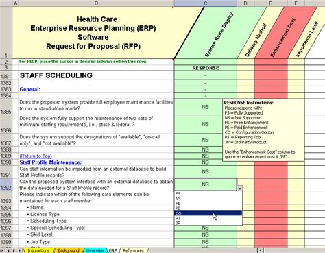 scheduling software evaluation rfp sample  questions