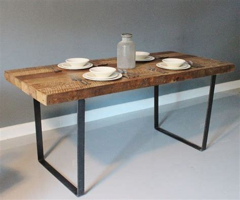 metal legs for wood table reclaimed urban wood rustic dining table with industrial