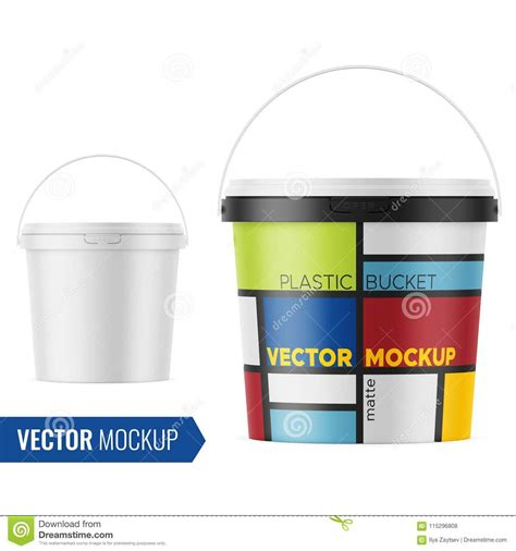 You can create a free account now. White Matte Plastic Bucket Mockup Template. Stock Vector ...