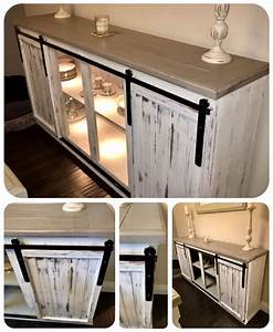 Diy sideboard buffet table farmhouse barn style for Buffet table with barn doors