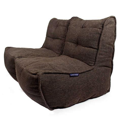 Bean Bag Loveseat by 2 Seater Brown Sofa Designer Bean Bag Brown