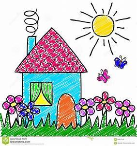 La Casa Del Disegno Del   S Dei Bambini  Fiori  Erba  Sole