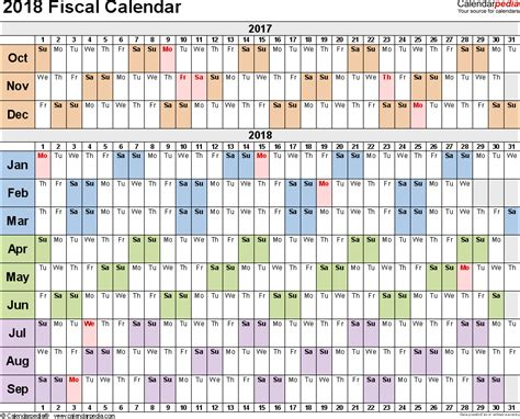 fiscal calendars printable excel templates