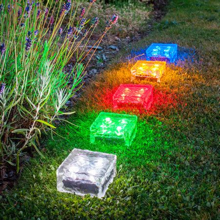 large solar garden path light glass brick 4 white leds
