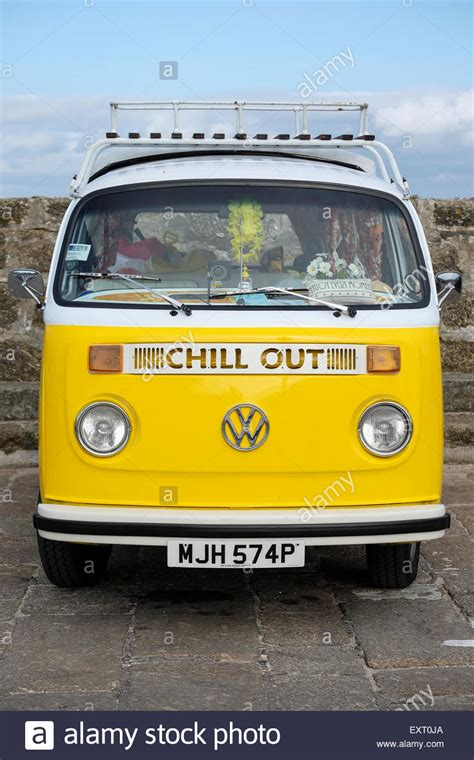 volkswagen van front st ives cornwall uk yellow vw cer van with 39 chill