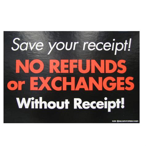 no refunds and exchanges retail policy sign retail