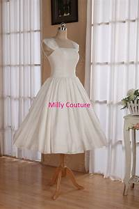 cap sleeves 1950s pin up wedding dress tea length retro With pin up style wedding dresses