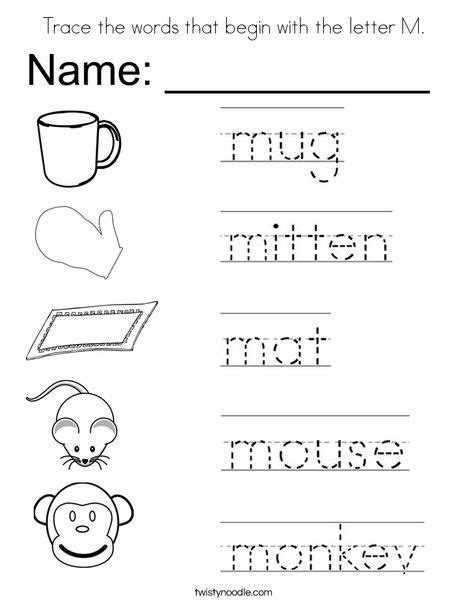 letter p word search worksheet twisty noodle trace the words that begin with the letter m coloring page 70107